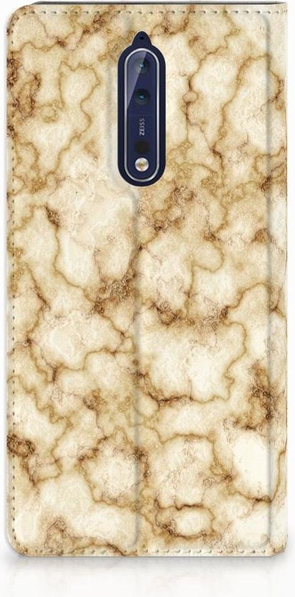 Nokia 8 Uniek Standcase Hoesje Marmer Goud