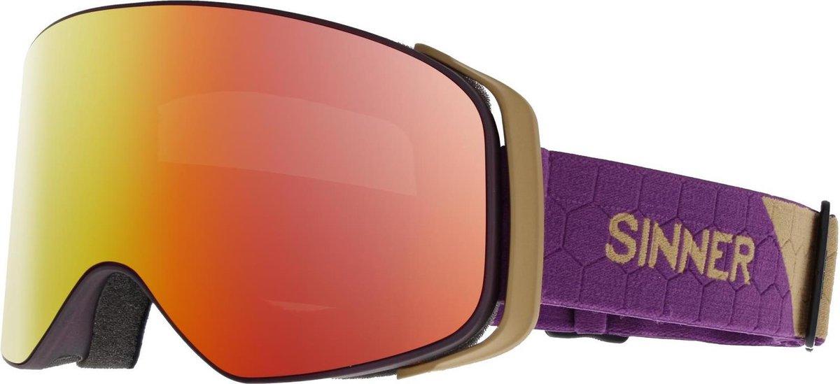 Sinner Olympia Unisex Skibril - Transparent Purple - Double Full Red Mirror - SINNER