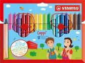 STABILO Cappi - Viltstift - Nooit Meer Je Dop Kwijt Dankzij De Dopring - Etui Met 18 Kleuren + 2 Dopringen