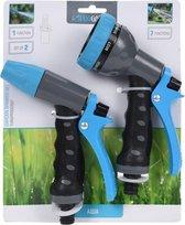 2x Tuinslang sproeipistool/spuitpistool/sproeikop - Tuinier/tuinslang benodigdheden
