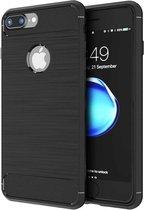 Geborsteld Hoesje voor Apple iPhone 8 Plus / 7 Plus Soft TPU Gel Siliconen Case Zwart iCall