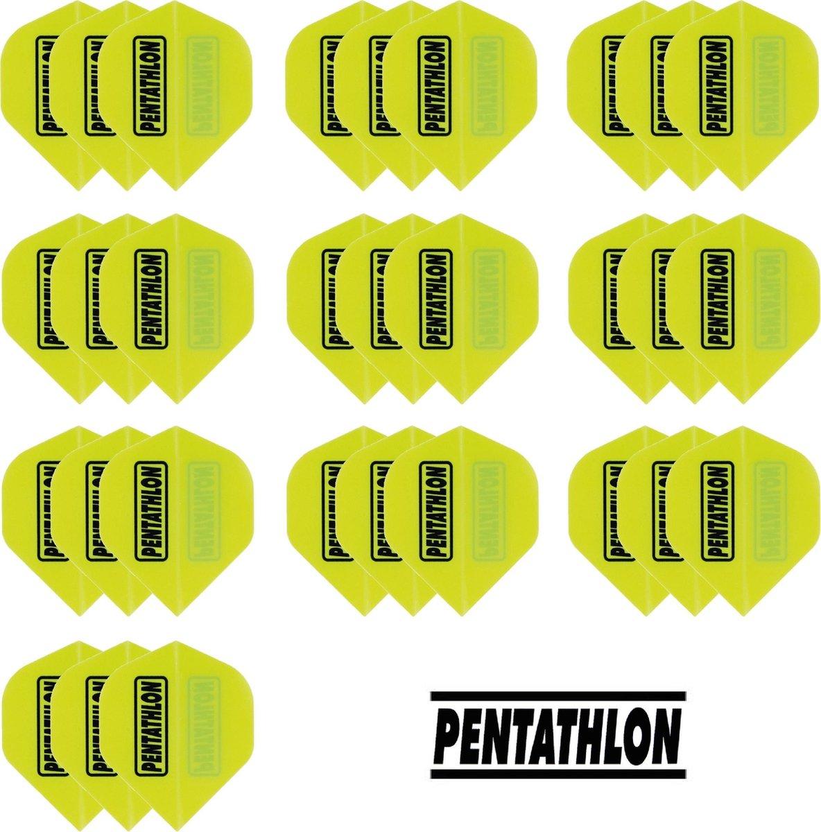 deDartshop 10 Sets (30 stuks) Pentathlon flights Multipack - Geel
