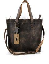 Lederen shopper bruin met lange hengsel Van Fiel/ Lina Leather