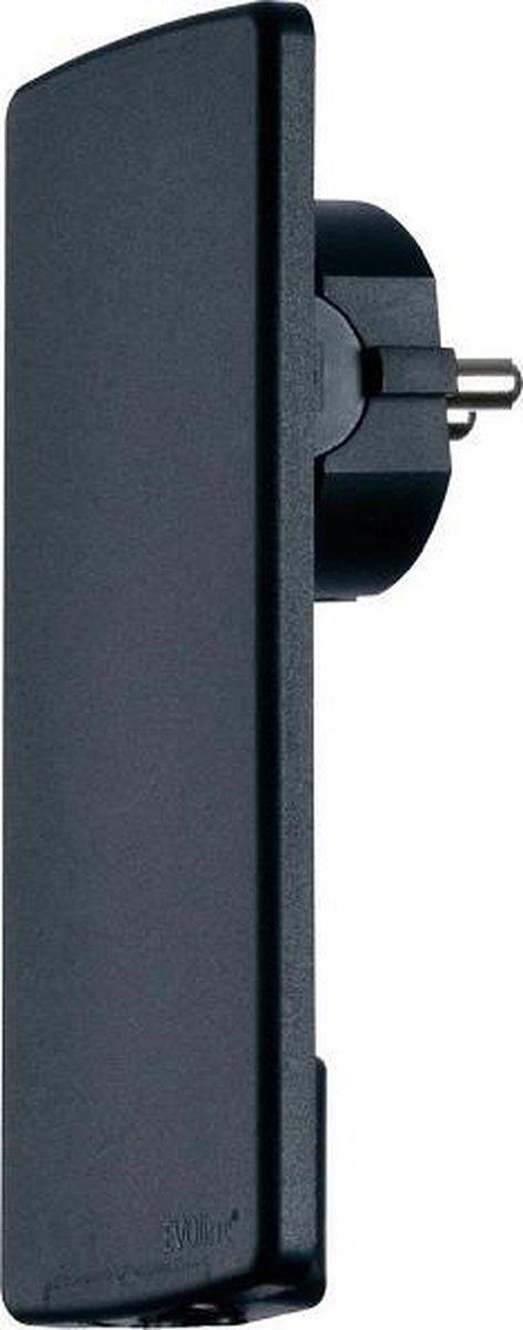 Evoline Plug platte stekker - met randaarde - Zwart