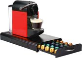 Luxe Capsule Houder met Lade - Geschikt voor Nespresso - Espresso Koffie Pad en Cups Houder - 50 Capsules - RVS - Zwart