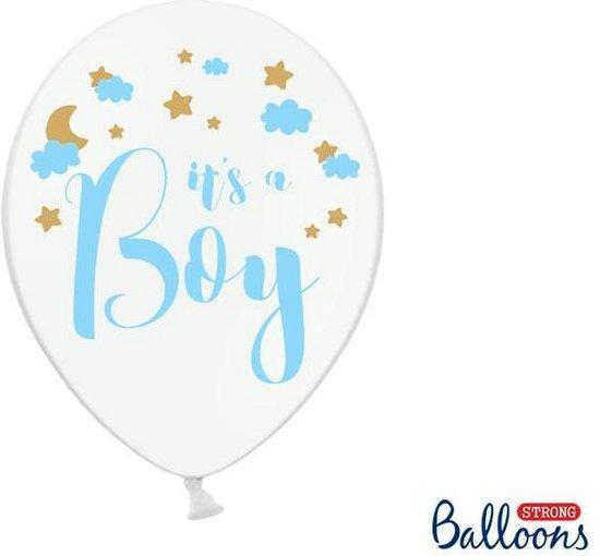 Ballonnen wit It's a Boy blauw 50 stuks