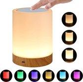 TKSTAR 6 Kleuren Dimbaar Aanraakbaar Nachtlampje LED Draagbare Houtnerf USB Opladen Voor Slaapkamer Woonkamer Bedlampje