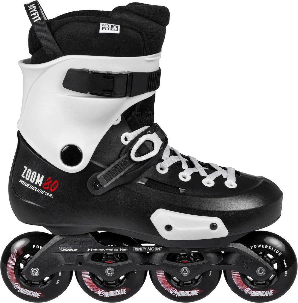Powerslide One Zoom 80 Inline Skate Senior Inlineskates - Maat 43/44 - Unisex - zwart/wit