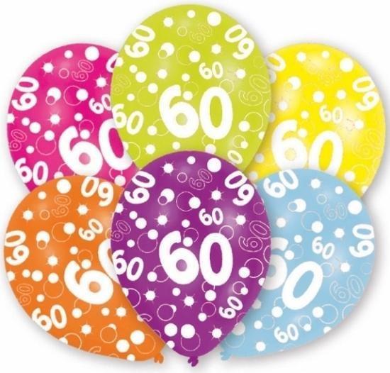 60 jaar leeftijd ballonnen 6 stuks