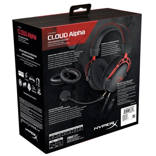 HyperX Cloud Alpha Pro Gaming Headset - PC - Zwart/Rood