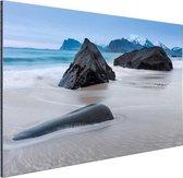 Zandstrand Aluminium 90x60 cm - Foto print op Aluminium (metaal wanddecoratie) / Zee en Strand