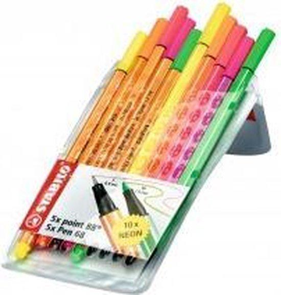 STABILO Pen 68 - Viltstift - STABILO point 88 - Fineliner - Combinatie Etui - Neon Kleuren