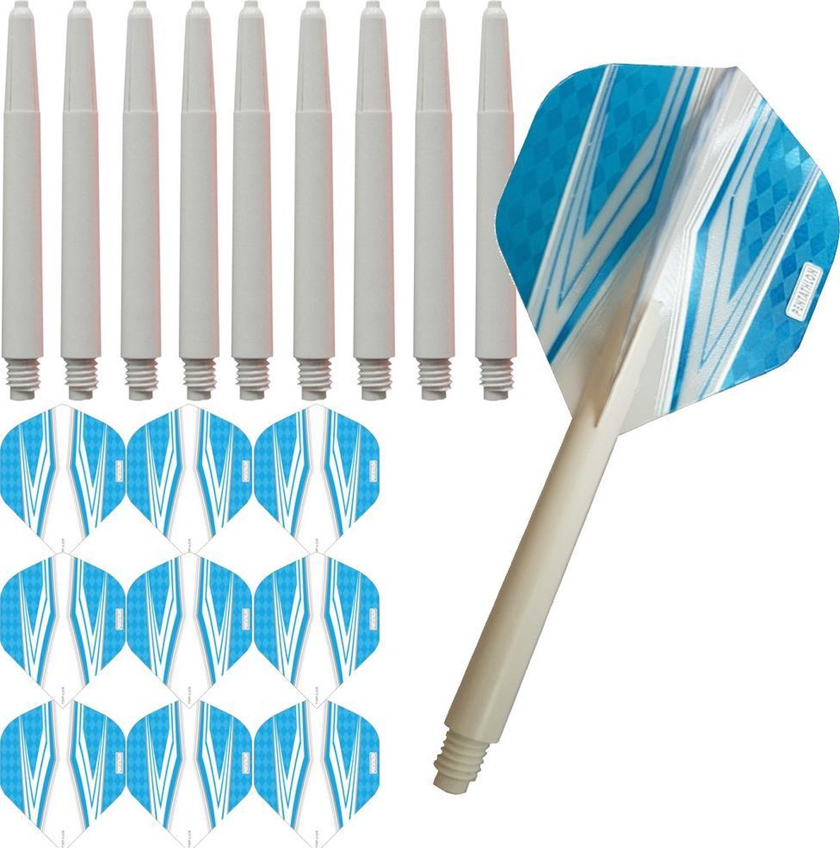 ABC Darts Flights Pentathlon - Dart flights en Medium Dart Shafts - Spitfire wit lichtblauw - 3 sets