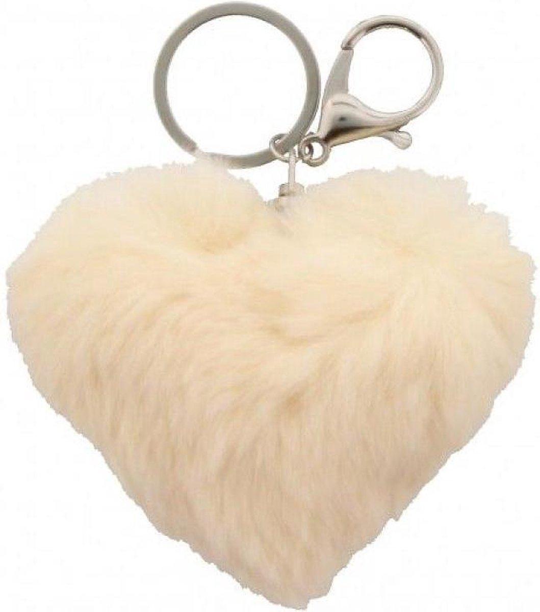 Witte sleutelhanger van bont - Dielay