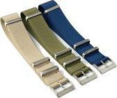 Chibuntu® - Set van 3 Nato Straps - Groen, Khaki & Blauw - Mannen - Horlogebanden - 22mm bandbreedte