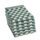 Treb Horecalinnen Theedoeken - 60x65 cm - Groen en Wit geblokt - 6 stuks