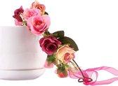 Bloemenkrans roze diadeem - rozenkrans boselfje bloemen rozen haarband - elfje bloemetjes boself elf roosjes