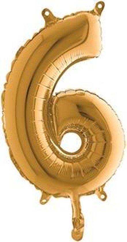 Grabo balloon - Folieballon - Cijfer 6 - Goud - 35cm