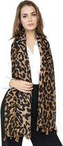 Lange warme luipaard panter leopard print dames sjaal bruin zwart herfst winter - 90 x 180 cm