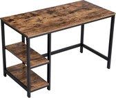 Stevige Bureau met vintage Look - Computertafel met extra legplanken - 120x60x75 cm - Vintage - Zwart / Rustiek Bruin