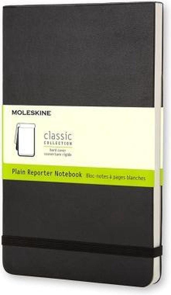 Moleskine Reporter Notebook - Large - Plain - Hard Cover - Black