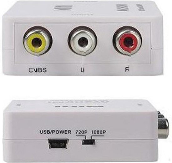 Tulp - Naar HDMI Converter - AV / Composiet RCA To HDMI Audio Video Kabel Adapter