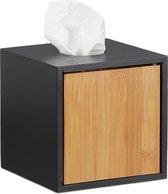 relaxdays tissuebox zwart - zakdoekjeshouder vierkant - kubus tissuehouder voor zakdoekjes