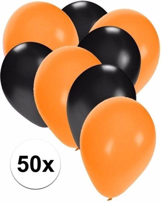 50x ballonnen oranje en zwart - knoopballonnen