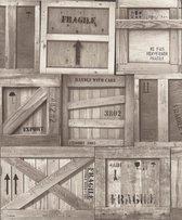 Dutch Wallcoverings schuimvinyl houten kratten - bruin