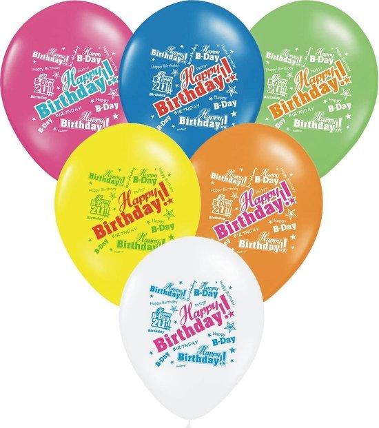 6 veelkleurige Happy Birthday ballonnen - Feestdecoratievoorwerp