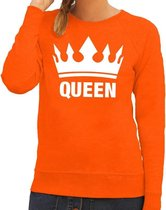 Oranje Koningsdag Queen sweater / trui dames - Oranje Koningsdag kleding M