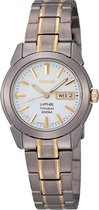 Seiko SXA115P1 horloge dames - zilver en goud - titanium