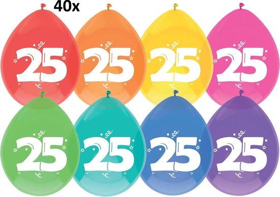 40x Ballonnen 25 jaar multi/Wit