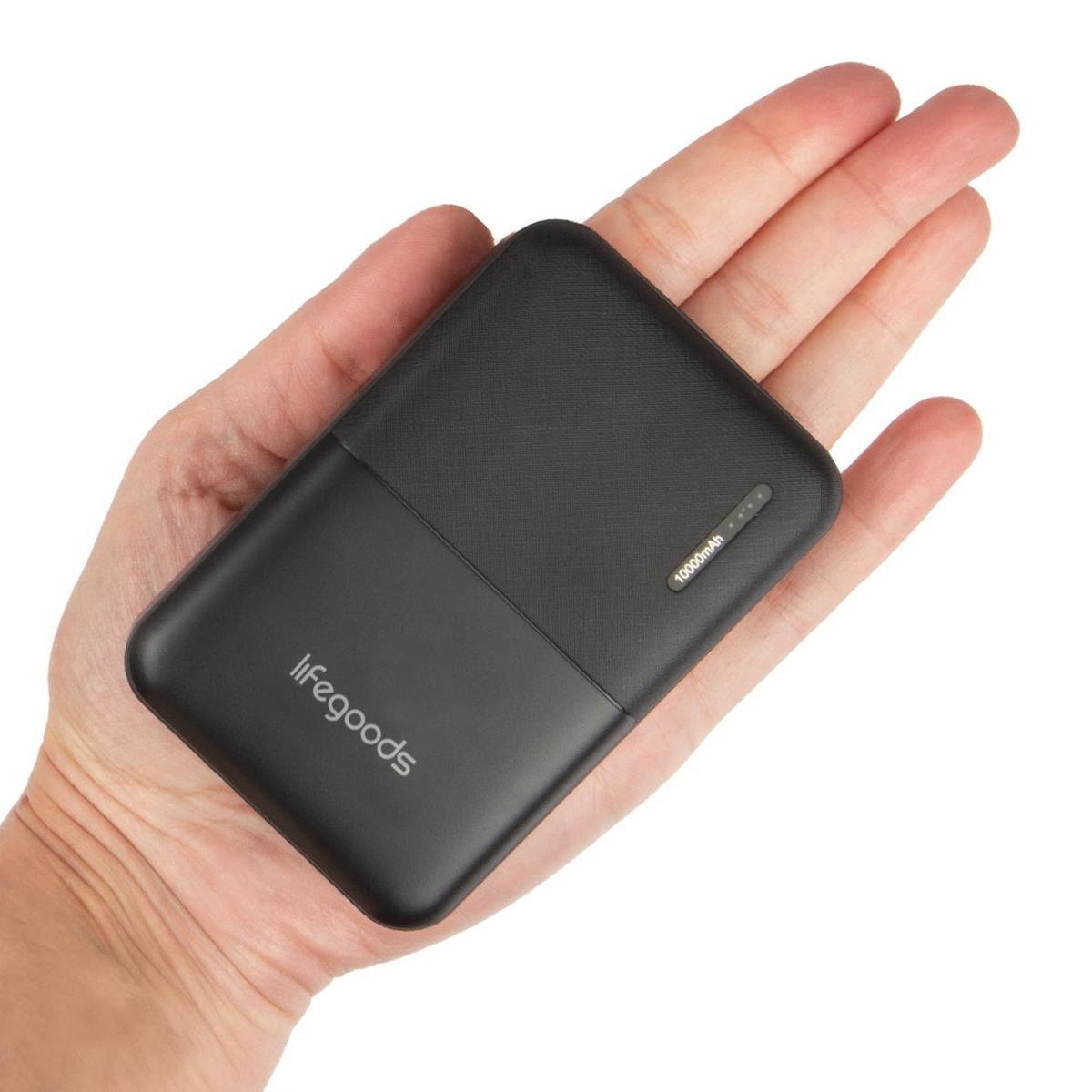 LifeGoods 10000 mah Powerbank - Kleine Licht Gewicht Externe Batterij met Quick Charge - 4 Poorten (