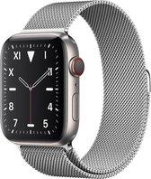 Apple Watch Series 5 Edition GPS + Cellular, 44mm Kast van Titanium, Silver Milanese Loop band