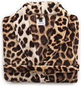 ZoHome Leopard Badjas Lang - Fleece - Maat L - Brown