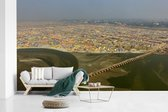 Fotobehang vinyl - Een artistieke luchtfoto van de stad Allahabad in de deelstaat Uttar Pradesh breedte 580 cm x hoogte 360 cm - Foto print op behang (in 7 formaten beschikbaar)