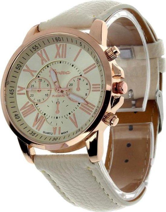Fako® – Horloge – Geneva – Roman – Metal – Crème