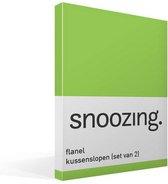 Snoozing - Flanel - Kussenslopen - Set van 2 - 50x70 cm - Lime