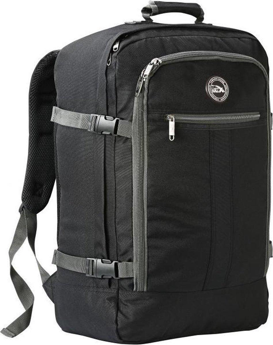 CabinMax Metz   Handbagage - Rugzak 44l  Schooltas - 55x40x20cm   Lichtgewicht - Zwart/Grijs (MZ BK/