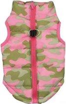 Body warmer voor honden - Honden bodywarmer - Maat S - Leger print roze