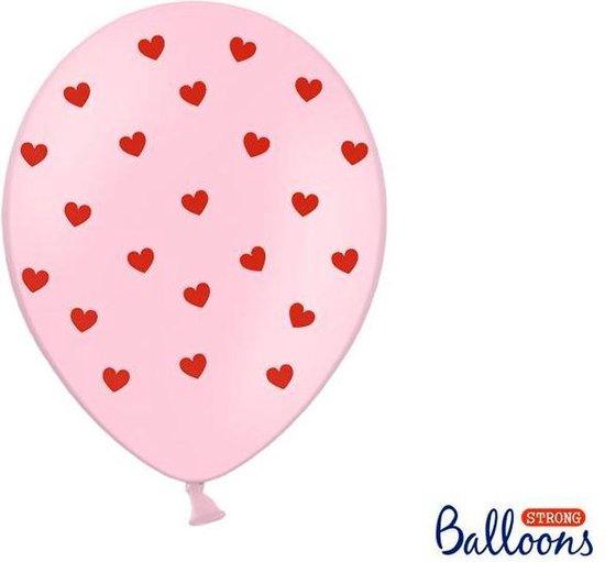 Ballonnen 30 cm, Hearts, Pastel Baby roze (1 zakje met 50 stuks)