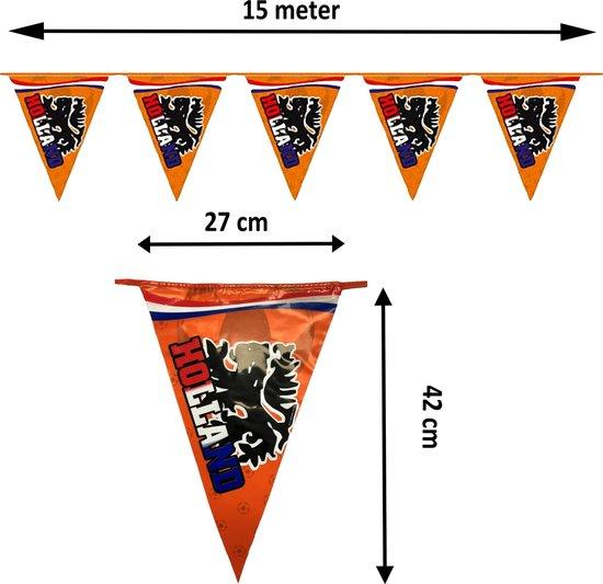XL Vlaggenlijn Oranje met Leeuw Buitenkwaliteit - 2-zijdig - 15 meter 42 x 27 cm