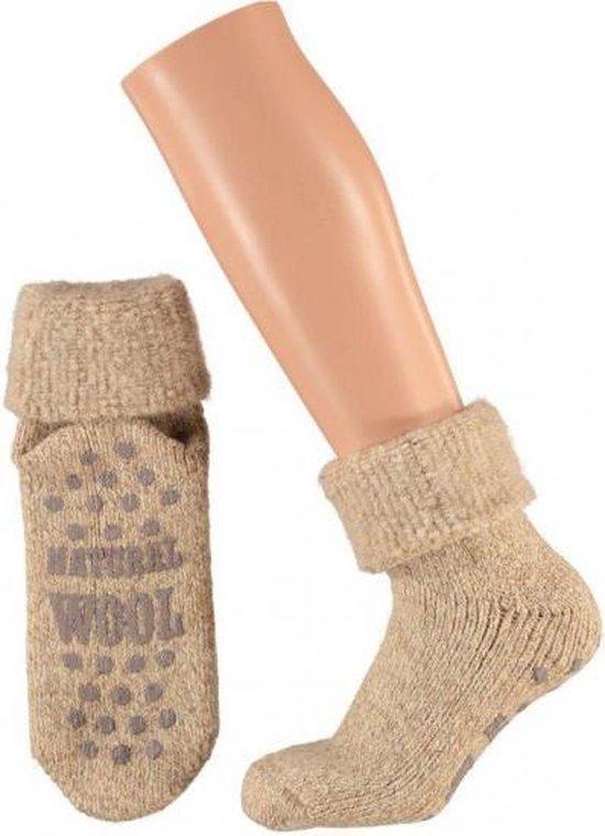Wollen huis sokken voor dames bruin 35-38 - Warme antislip sokken