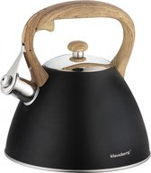 Fluitketel Inductie Gas Waterkoker 3.0 L '' Opal '' Zwart met Houtnerf