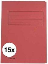 15x dossiermappen 24 x 35 cm rood