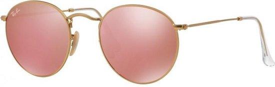 Ray Ban RB3447 112Z2 zonnebril Round Metal Goud Koper Flash Spiegel 53mm