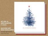 Luxe kerstkaarten met rode enveloppen, Kerstboom met roodfolie - 10 stuks