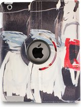 Apple iPad Hoes - 360° Draaibaar - Voor de iPad 2, iPad 3 & iPad 4 - Kunst Abstract Artistiek 'Zwart en Rood' - Uniek Design