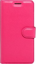 LG K4 horizontaal Litchi structuur PU leren Flip Hoesje met magnetische sluiting  houder en opbergruimte voor pinpassen & geld (hard roze)